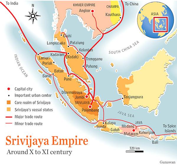 peta perdagangan kerajaan sriwijaya